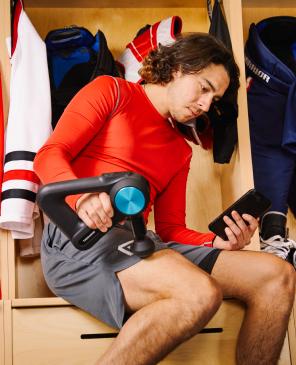Johnny Gaudreau treating upper thigh