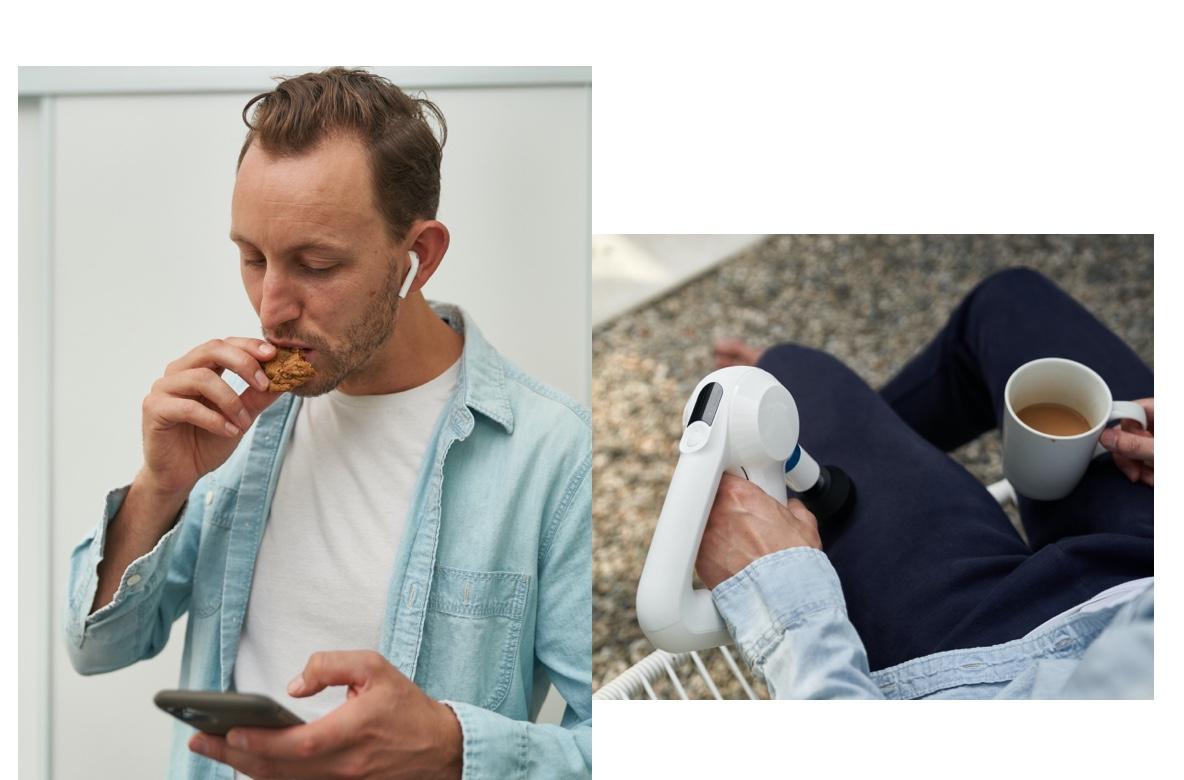 man using therabody app