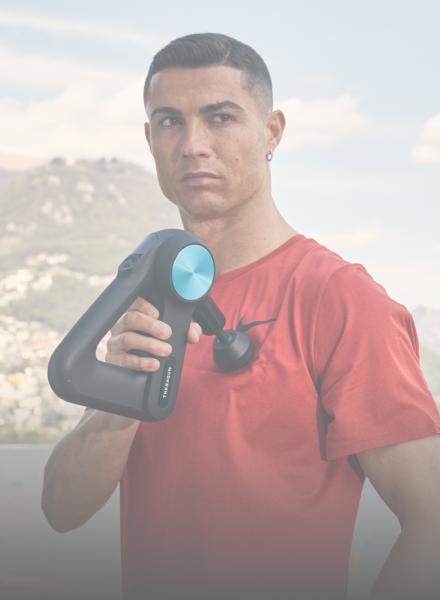 Image of Cristiano Ronaldo holding Theragun