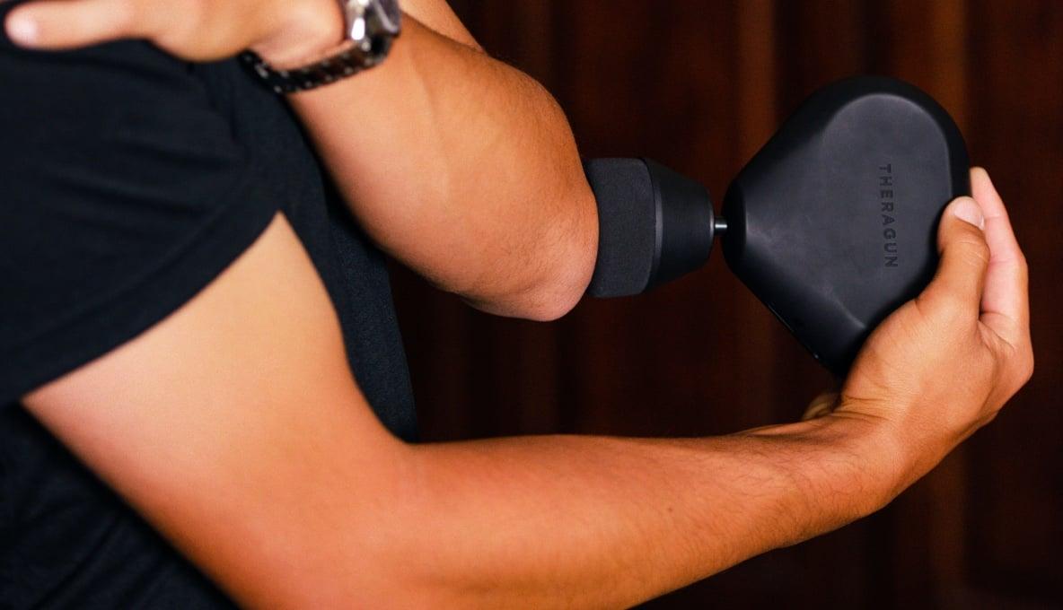 Collin Morikawa treating elbow